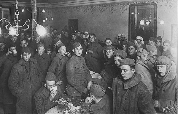 Interior of American Red Cross Enlisted Men's Hotel at Toul, Fra